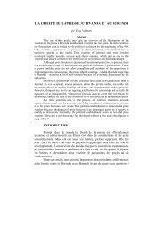 LA LIBERTE DE LA PRESSE AU RWANDA ET AU BURUNDI