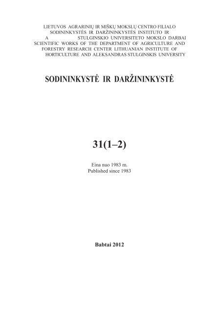 31(1–2) - Sodininkystė ir daržininkystė - Sodininkystės ir ...