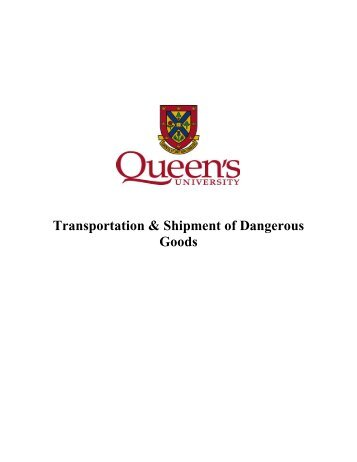 Transportation of Dangerous Goods Procedures - Environmental ...
