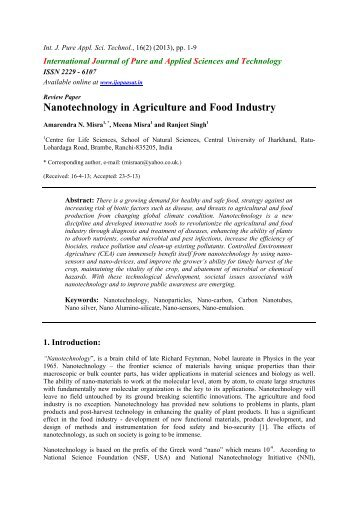 Nanotechnology in Agriculture and Food Industry