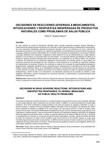 Decisiones en reacciones adversas a medicamentos, intoxicaciones ...