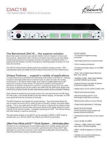 DAC16 Sell Sheet - Benchmark Media Systems