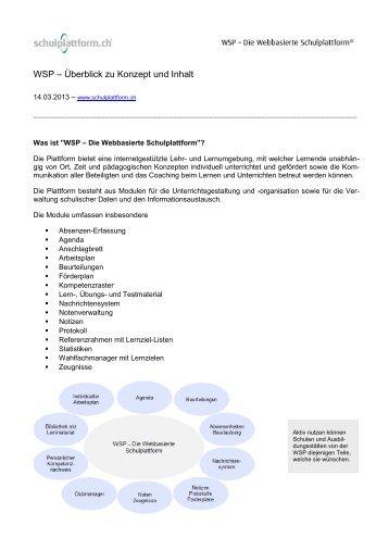 WSP – Überblick zu Konzept und Inhalt - schulplattform.ch