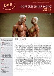 Körperspender News 2013 - Bundesverband der Körperspender e.V.