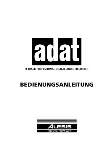 Alesis Adat Bedienungsanleitung - Liveproduction