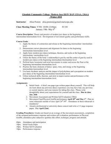Glendale Community College- Modern Jazz III/IV DAN 133AA ...