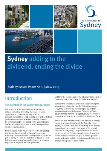 Sydney Issues Paper - The Committee for Sydney