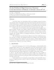 On the Problem of High Transverse Momenta in the Interactions of ...