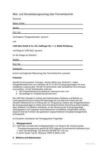 Miet- und Dienstleistungsvertrag über Fernwirktechnik - LSW Netz