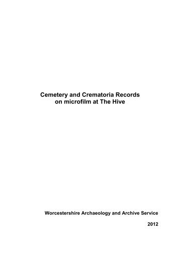 Cemetery and Crematoria Records on microfilm at The Hive