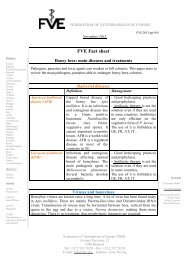 Honey bees - FVE fact sheet - Federation of Veterinarians of Europe