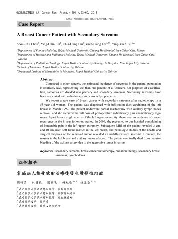 Case Report A Breast Cancer Patient with Secondary Sarcoma 病例 ...