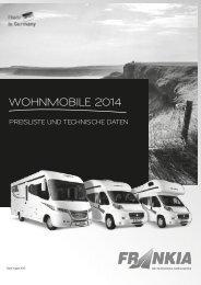WOHNMOBILE 2014 PREISLISTE UNd TEcHNIScHE daTEN