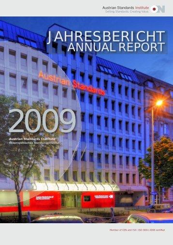 Jahresbericht Annual Report 2009 Austrian Standards ... - baunorm.at