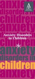 Anxiety Disorders in Children - Anxiety Disorders Association of ...