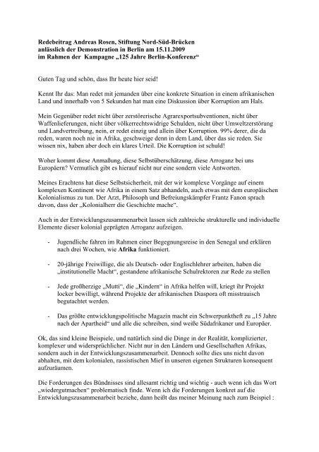 vollständige Redebeitrag - Stiftung Nord-Süd-Brücken