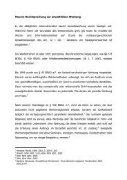 Neuere Rechtsprechung zur anwaltlichen Werbung In der ...