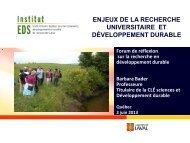 Le « développement durable - Fonds de recherche du Québec