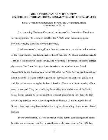Opening Statement - PDF - APWU