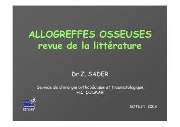 ALLOGREFFES OSSEUSES revue de la littérature - Sotest