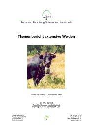 Themenbericht extensive Weiden - Projekte Ökologie Landwirtschaft