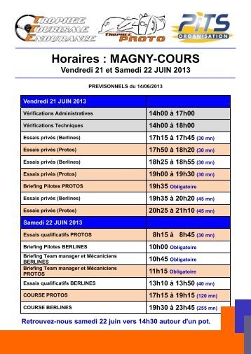 Horaires : MAGNY-COURS - PITS ORGANISATION