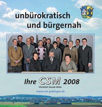 Aktuelles Wahlprospekt der Periode 2008 bis 2014 - CSM Gablingen