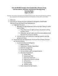 Fish and Wildlife Strategic Vision Stakeholders Advisory Group ...