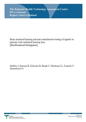 Bone anchored hearing aid and contralateral routing - Sahlgrenska ...