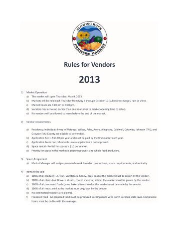 Rules for Vendors - Blowing Rock Chamber of Commerce