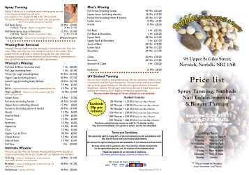 Price list 07-03-13 - Pebbles Tanning Nails & Beauty Salon. Norwich