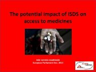The potential impact of ISDS on access to medicines - European ...