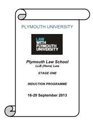 LLB (Hons) Law - Plymouth
