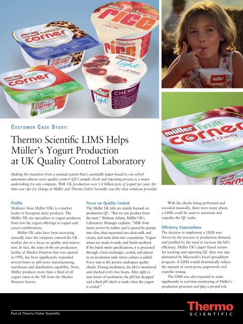 Thermo Scientific LIMS Helps Müller's Yogurt Production at UK ...