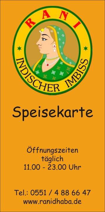 Speisekarte Rani Dhaba, Göttingen - Indischer Imbiss Rani Dhaba