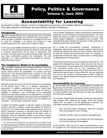 Accountability for Learning - Public Policy Forum