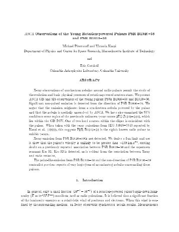 ASCA Observations of the Young Rotation-powered Pulsars PSR ...
