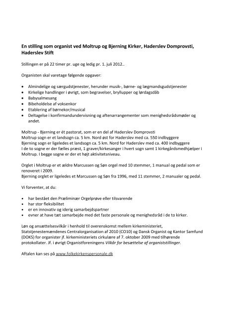 En stilling som organist ved Moltrup og Bjerning Kirker, Haderslev ...