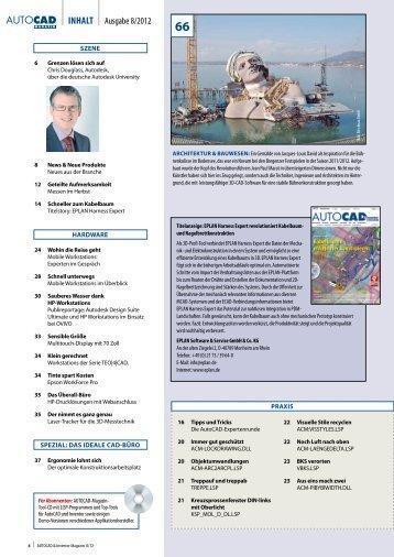 Inhaltsverzeichnis AUTOCAD & Inventor Magazin 2012/08