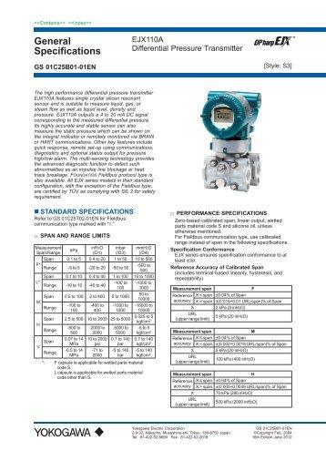 EJX110A Standard Differential Pressure Transmitter - Illawarra ...