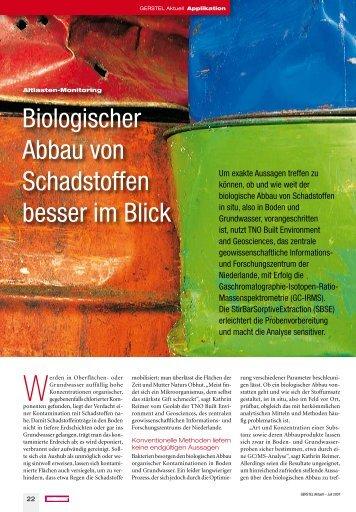 Biologischer Abbau von Schadstoffen besser im Blick