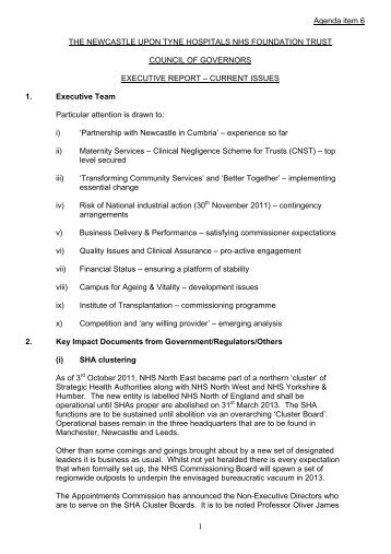 06 Exec Report November 2011 (58KB pdf) - Newcastle Hospitals