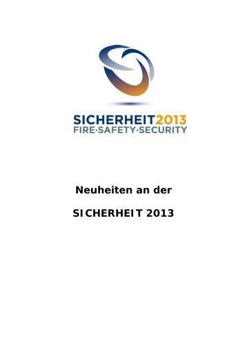 Aussteller-News - SICHERHEIT 2013