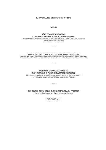 Restaurant Bacchus - Aktuelle Speisekarte