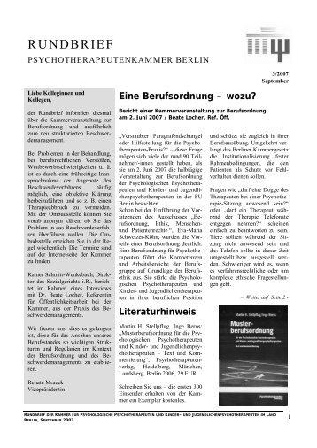 Kammerrundbrief 3/2007 (PDF, 925 kb) - Kammer für ...
