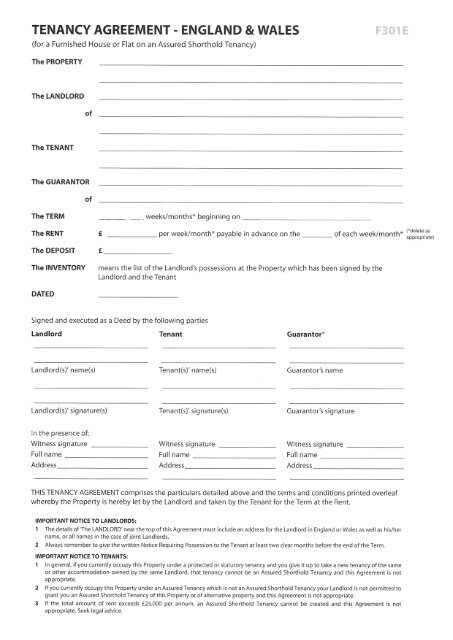 Tenancy Agreement England 8 Wales F301 E A List Lettings