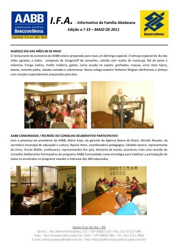 Informativo MAIO/2011 - AABB Santa Cruz do Sul