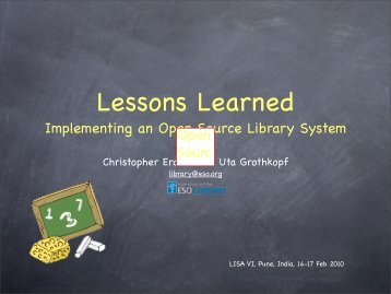 Implementing an Open Source Library System Open Sourc e ... - iucaa