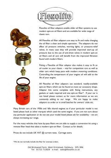 Flexolite oil filter adaptors enable older oil filter systems to use ...