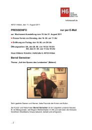 PRESSEINFO nur per E-Mail Bernd Gemeiner - Haus Hildener ...